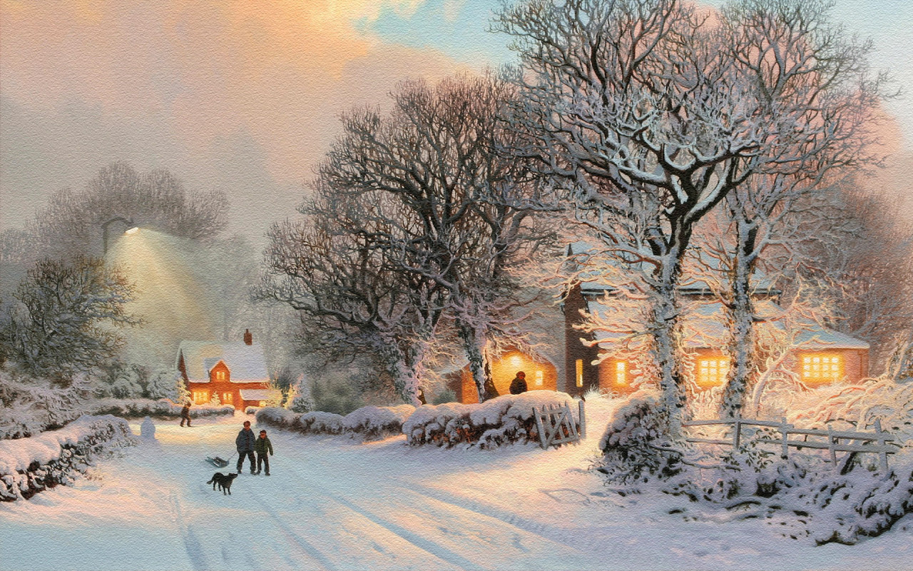 Картина зимнего пейзажа